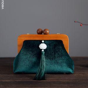 Vintage Kinesisk Stil Mørk Grønn Velour Dusk Firkantede Håndvesken  2020