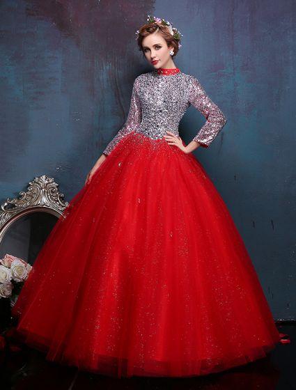2016 Vintage High-hals Pailletten En Kristallen Rode Organza Galajurk