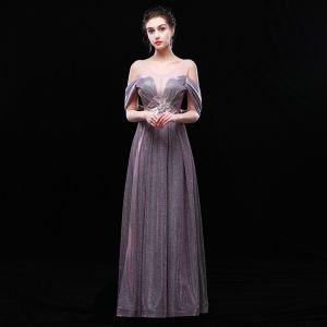 Charmant Argenté Robe De Soirée 2019 Princesse V-Cou Glitter Polyester En Dentelle Fleur Sans Manches Dos Nu Longue Robe De Ceremonie