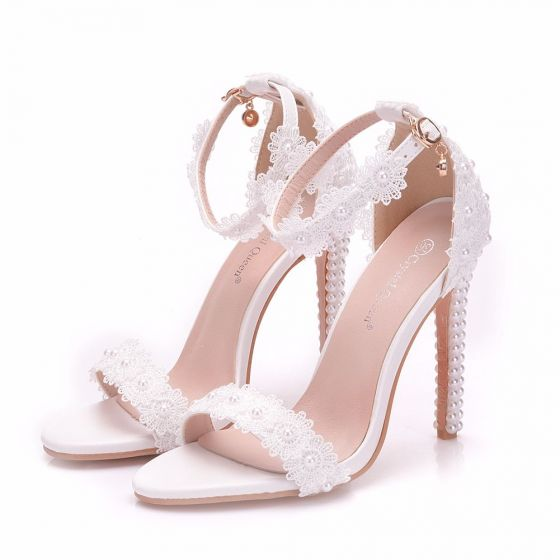 c6f87633f87 Chic / Beautiful White Wedding Shoes 2018 Lace Flower Pearl Ankle Strap 9  cm Stiletto Heels Open / Peep Toe Wedding High Heels