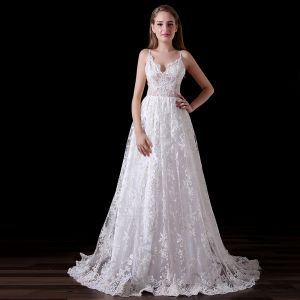 Chic / Beautiful White Wedding Dresses 2018 A-Line / Princess Lace Spaghetti Straps Backless Court Train Wedding