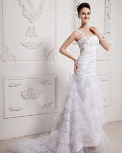 Ruffle Beaded One Shoulder Organza Court Mermaid Bridal Gown Wedding Dresses