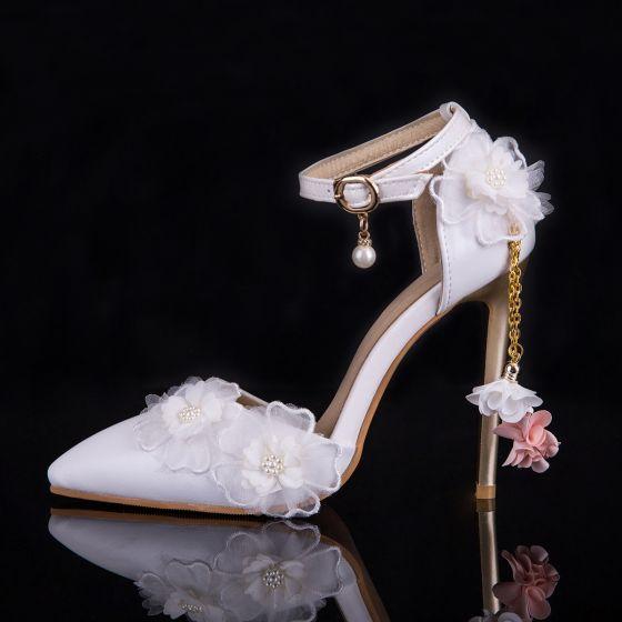 Hermoso Blanco Zapatos de novia 2019 Perla Correa Del Tobillo Apliques 9 cm Punta Estrecha Stilettos / Tacones De Aguja Boda High Heels
