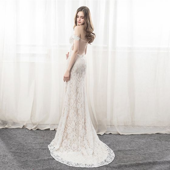 Sexy Beige Lace See-through Evening Dresses  2019 Trumpet / Mermaid Off-The-Shoulder Short Sleeve Split Front Court Train Ruffle Backless Formal Dresses