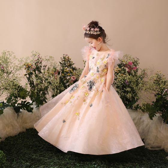 Chic / Beautiful Church Wedding Party Dresses 2017 Flower Girl Dresses Pearl Pink A-Line / Princess Floor-Length / Long Scoop Neck Short Sleeve Bow Lace Sequins Appliques