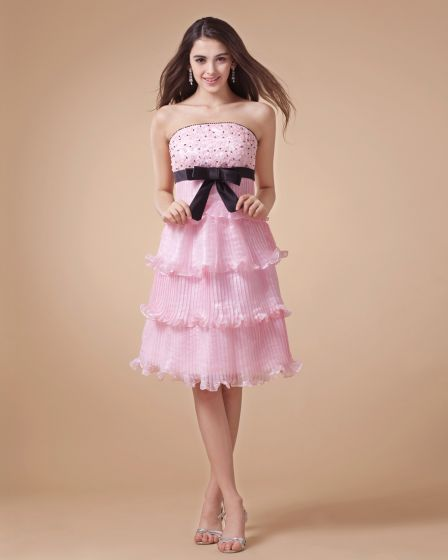 Satin Strapless Ruffle Layered Beading Knee Length Cocktail Party Dresses