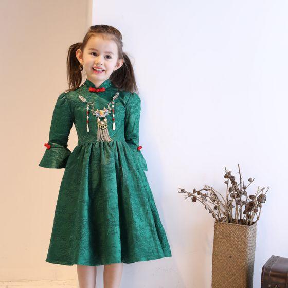 Kinesisk Stil Kirke Kjoler Til Bryllup 2017 Pige Kjoler Mørkegrøn Prinsesse Te-længde Høj Hals 3/4 De Las Mangas Sløjfe