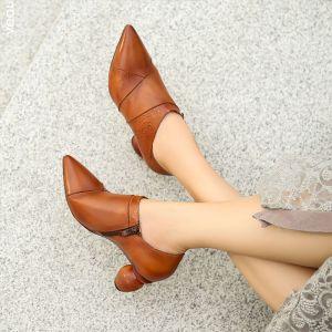 Vintage Tan Freizeit Leder Stiefel Damen 2020 7 cm Thick Heels Spitzschuh Stiefel