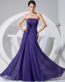 Chiffon Strapless Sleeveless Zipper Ruffle Floor Length Evening Dress