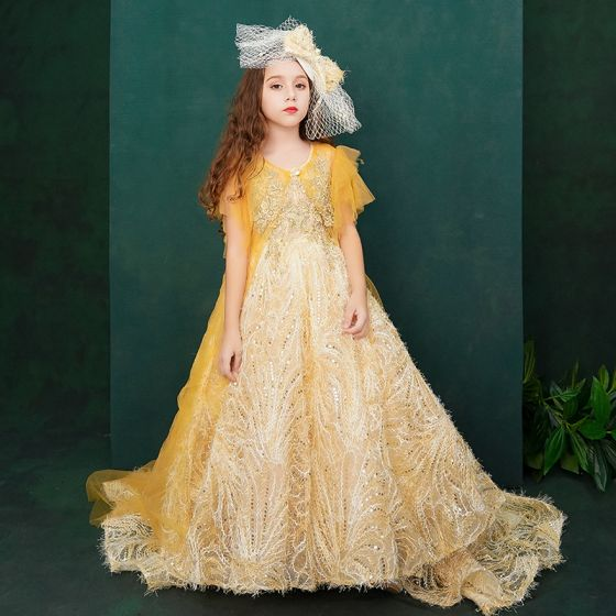 Chic / Beautiful Yellow Birthday Flower Girl Dresses With Shawl 2020 Ball Gown Scoop Neck Sleeveless Backless Appliques Lace Sequins Rhinestone Sweep Train Ruffle