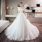 Chic / Beautiful White Wedding Dresses 2018 Ball Gown Lace Appliques Off-The-Shoulder Backless Sleeveless Chapel Train Wedding