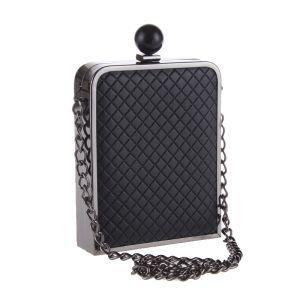 Eenvoudige Zwarte Geruit  Metaal Handtassen 2018