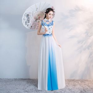 Chinese style White Floor-Length / Long Evening Dresses  2018 A-Line / Princess High Neck Tulle Appliques Beading Rhinestone Evening Party Formal Dresses