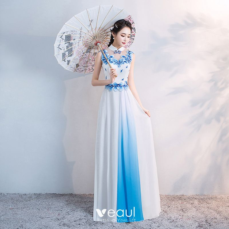 a5a9007026bdf Chinese style White Floor-Length / Long Evening Dresses 2018 A-Line ...