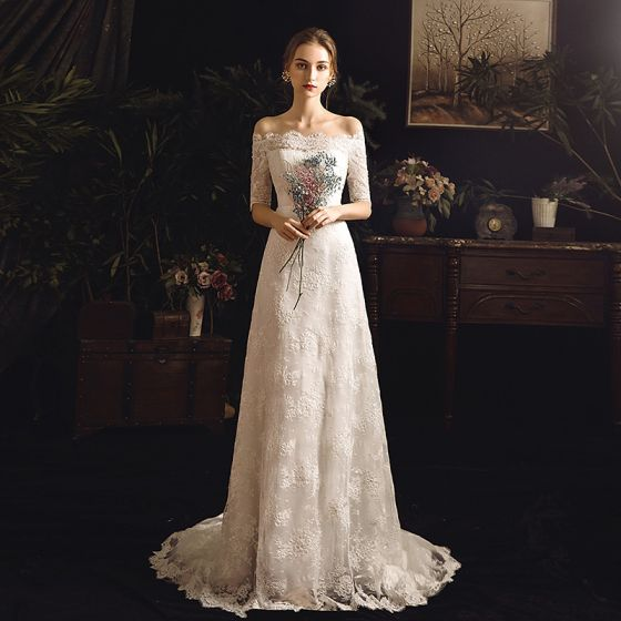 Elegant Ivory Outdoor / Garden Wedding Dresses 2019 Sheath / Fit Off-The-Shoulder 1/2 Sleeves Backless Sash Appliques Lace Sweep Train Ruffle