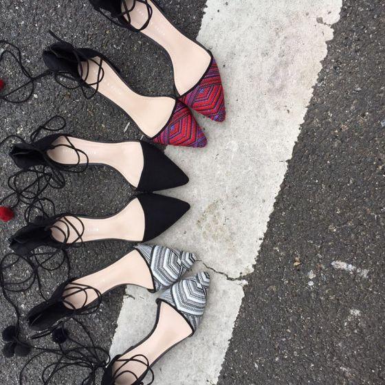 Chic / Belle 2017 5 cm / 2 inch Noire Rouge Blanche Désinvolte Similicuir Été Petit Talon Escarpins
