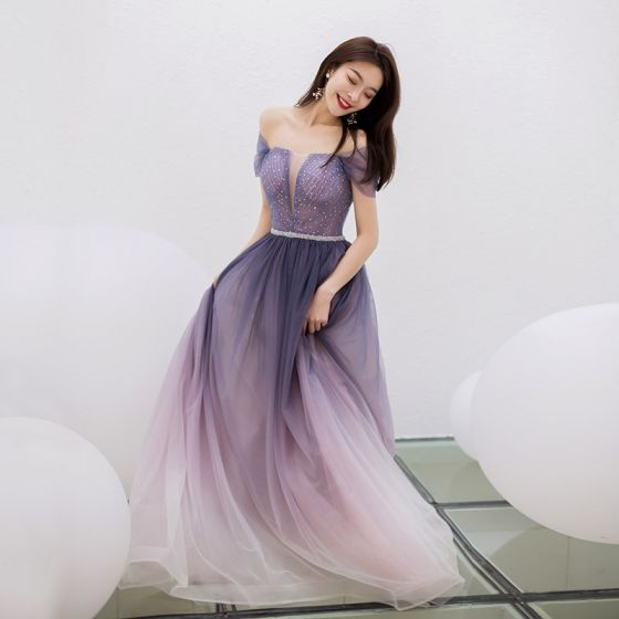 Uroczy Fioletowe Gradient-Kolorów Sukienki Wieczorowe 2019 Princessa Kwadratowy Dekolt Rhinestone Kótkie Rękawy Bez Pleców Długie Sukienki Wizytowe