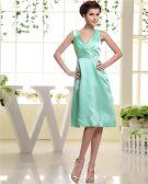 V Neck Sleeveless Zipper Pleated Knee Length Woman Bridesmaid Dresses