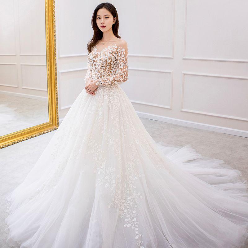 Charming Ivory Wedding Dresses 2019 A-Line / Princess Long Sleeve Lace Flower Backless Chapel Train