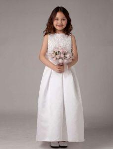 White Satin Spitze Blumenmädchen Kleid Kommunionkleider