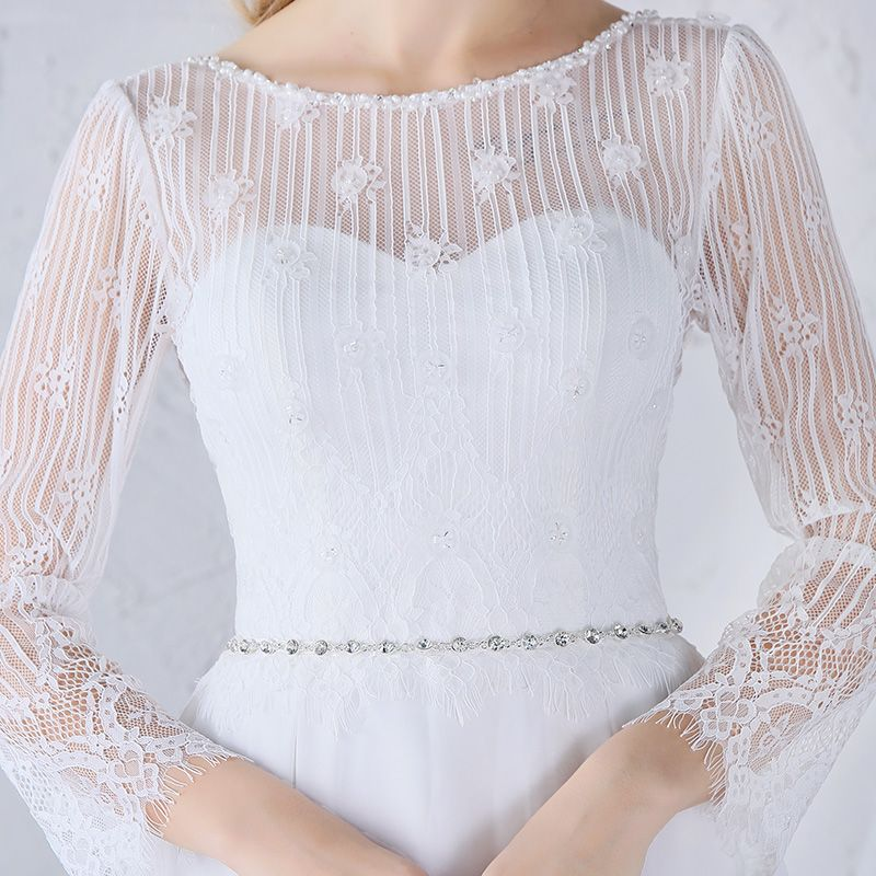 Chic / Beautiful Beach Wedding Dresses 2017 White A-Line / Princess Floor-Length / Long Split Front Scoop Neck Long Sleeve Backless Beading Sash Lace Appliques Pearl