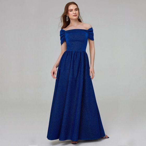 Chic / Belle Bleu Roi Robe De Mère De Mariée 2020 Princesse Longue Manches Courtes Dos Nu Perlage Paillettes Mariage Soirée Robe Pour Mariage