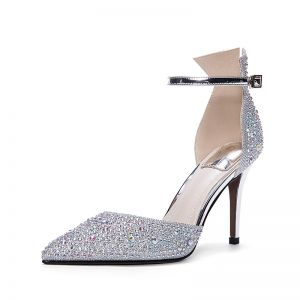 Bling Bling Silver Wedding Shoes 2017 Pointed Toe Beading Rhinestone Strappy High Heels Leather Pumps Womens Shoes