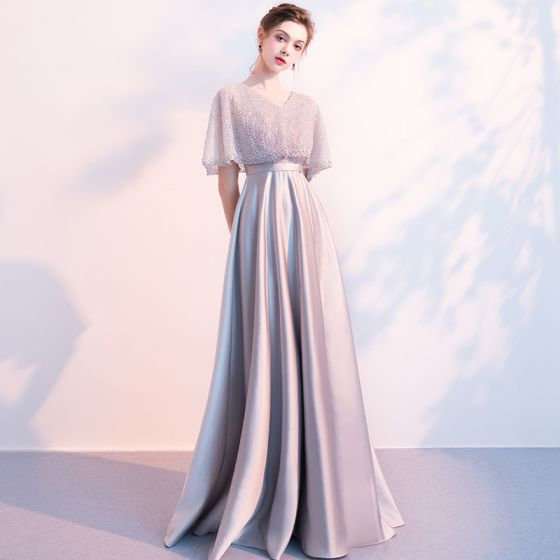 Stunning Grey Evening Dresses  With Shawl 2018 Empire V-Neck Beading Floor-Length / Long Ruffle Backless Formal Dresses