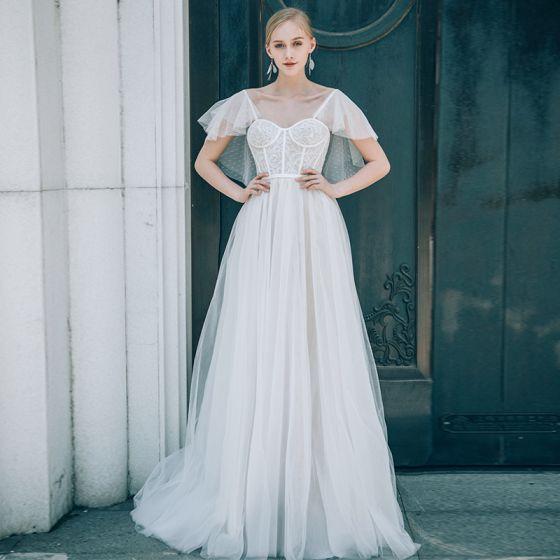Chic / Beautiful Ivory Wedding Dresses 2018 A-Line / Princess Lace ...