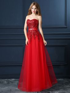 A-line Sweetheart Sequins Red Organza Evening Dress With Sash