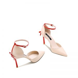 Mode Nude Abend Damenschuhe 2020 Schleife Knöchelriemen 8 cm Stilettos Spitzschuh High Heels