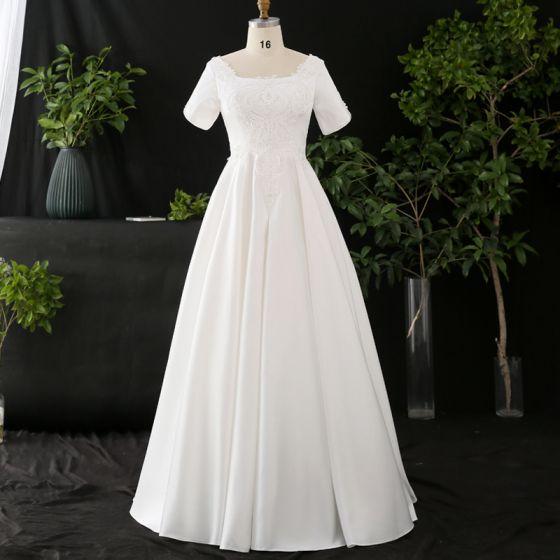 Amazing / Unique White Plus Size Wedding Dresses 2020 A-Line / Princess Floor-Length / Long Short Sleeve U-Neck Handmade  Beading Appliques Backless Pearl Wedding