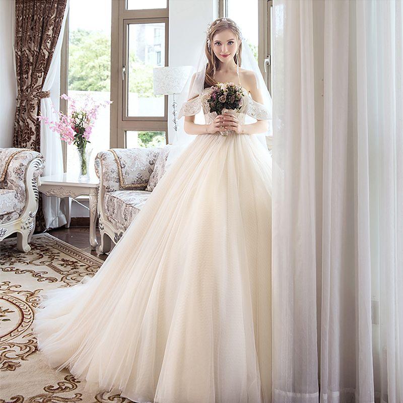 Chic / Beautiful Champagne Wedding Dresses 2018 A-Line / Princess Beading Crystal Pearl Rhinestone Strapless Backless Sleeveless Court Train Wedding