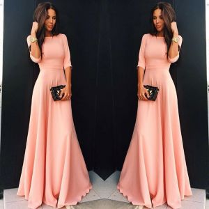 Modest / Simple Pearl Pink Casual Maxi Dresses 2018 A-Line / Princess Scoop Neck 1/2 Sleeves Floor-Length / Long Women's Clothing