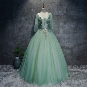 Chic / Beautiful Mint Green Dancing Prom Dresses 2020 Ball Gown V-Neck 3/4 Sleeve Appliques Lace Floor-Length / Long Ruffle Backless Formal Dresses