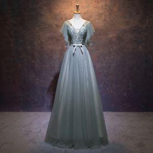 Elegant Sage Green Evening Dresses  2019 A-Line / Princess V-Neck Beading Sequins Lace Flower Bow Short Sleeve Backless Floor-Length / Long Formal Dresses