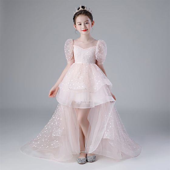 Victorian Style Blushing Pink Birthday Flower Girl Dresses 2020 Ball Gown See-through Scoop Neck Puffy 1/2 Sleeves Spotted Tulle Asymmetrical