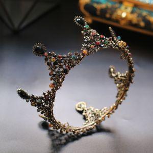 Vintage Färgad Rhinestone Tiara 2020 Guld Legering Brud Huvudbonad