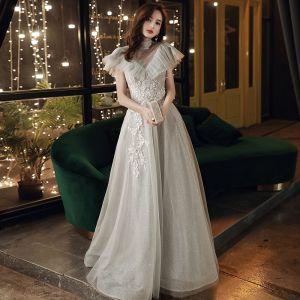 Błyszczące Uroczy Srebrny Szary Sukienki Wieczorowe 2020 Princessa Wysokiej Szyi Frezowanie Cekiny Rhinestone Aplikacje Kótkie Rękawy Bez Pleców Długie Sukienki Wizytowe