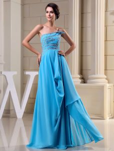 2015 Gorgeous A-line Strapless Beading Crystal Ruffle Long Evening Dress