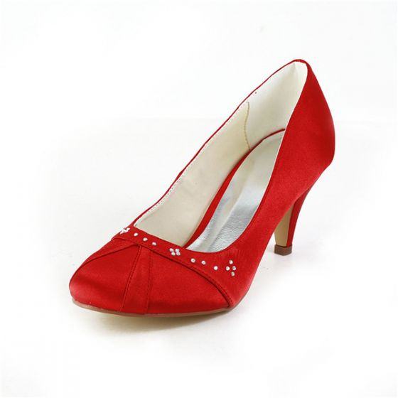 Milieu Talons Bout Rond Simples Escarpins Satin Rouge Chaussures Avec Strass