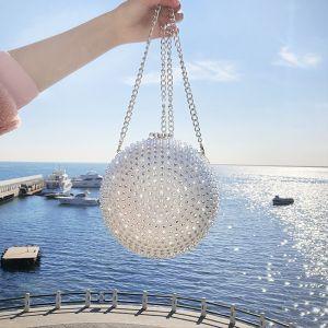 Mode Silber Perlenstickerei Strass Clutch Tasche 2019 Brautaccessoires