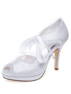 Schöne Weiße Brautsandalen Stilettos Peep Toe Brautschuhe High Heels Mit Schleife