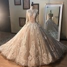 Vintage / Retro Champagne See-through Wedding Dresses 2019 A-Line / Princess High Neck Long Sleeve Backless Appliques Lace Beading Floor-Length / Long Ruffle