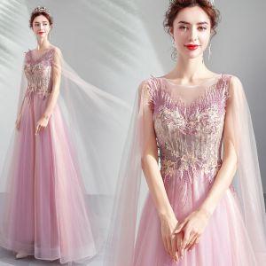 Elegantes Rosa Vestidos Formales 2019 A-Line / Princess Scoop Escote Con Encaje Flor Crystal Manga Corta Sin Espalda Largos Vestidos de gala