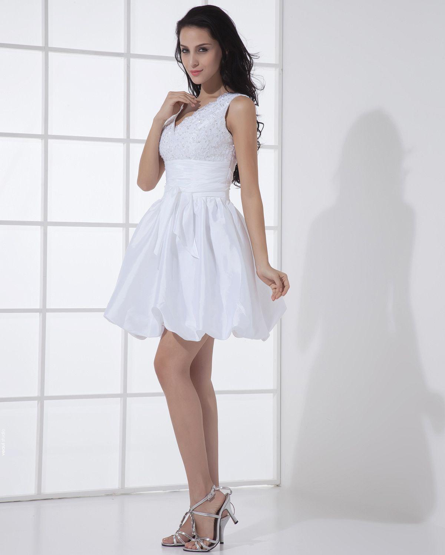Lace V Neck Short Mini Bridal Gowns Wedding Dresses/Graduation Dresses