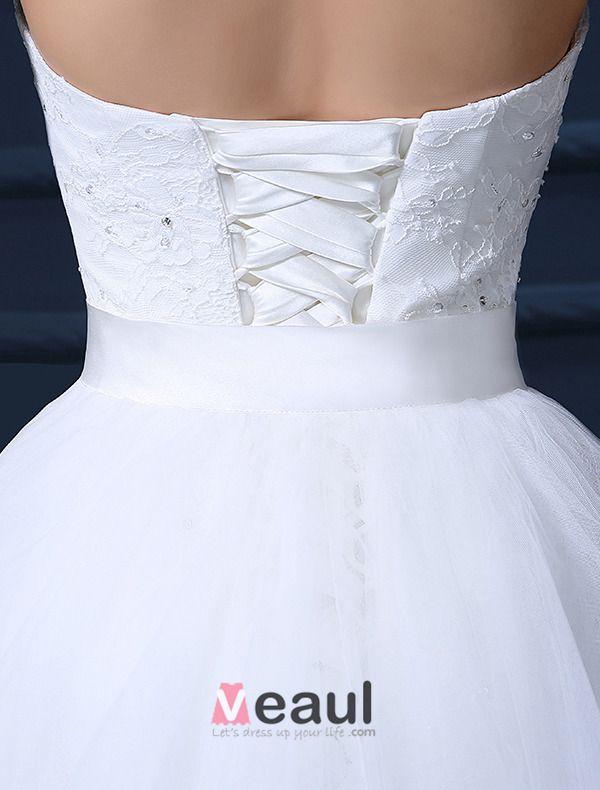 Kurz & Mini Liebsten Ärmel Abnehmbaren Schwanz Hochzeitskleider