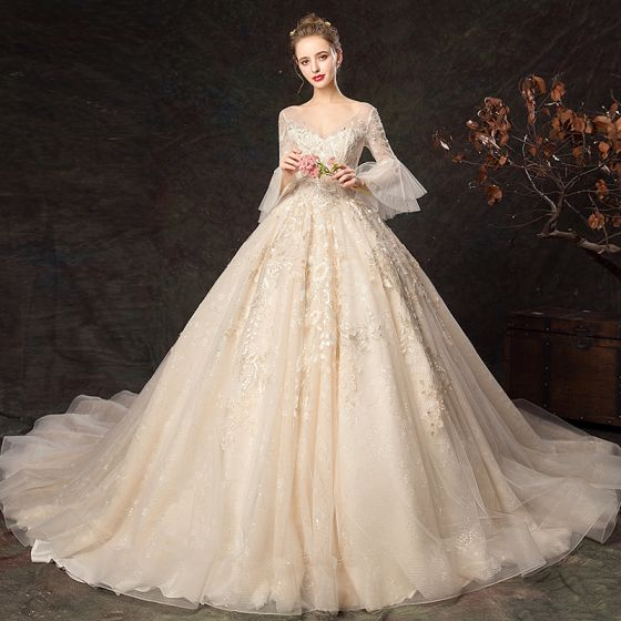 Elegant Champagne Wedding Dresses 2019 Ball Gown V-Neck Lace Flower Bell sleeves Backless Cathedral Train