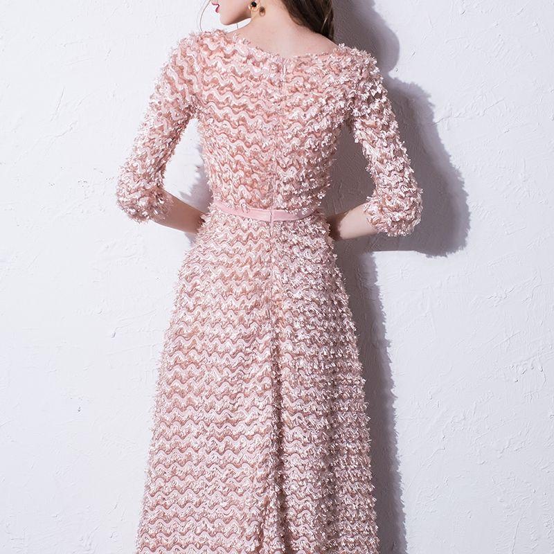 Mooie / Prachtige Blozen Roze Avondjurken 2017 A lijn Ronde Hals 3/4 Mouwen Enkellange Gelegenheid Jurken