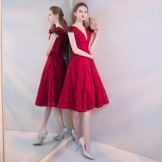 09da6e7c8 Hermoso Borgoña de fiesta Vestidos de graduación 2019 A-Line   Princess  V-cuello Profundo Rebordear Con ...